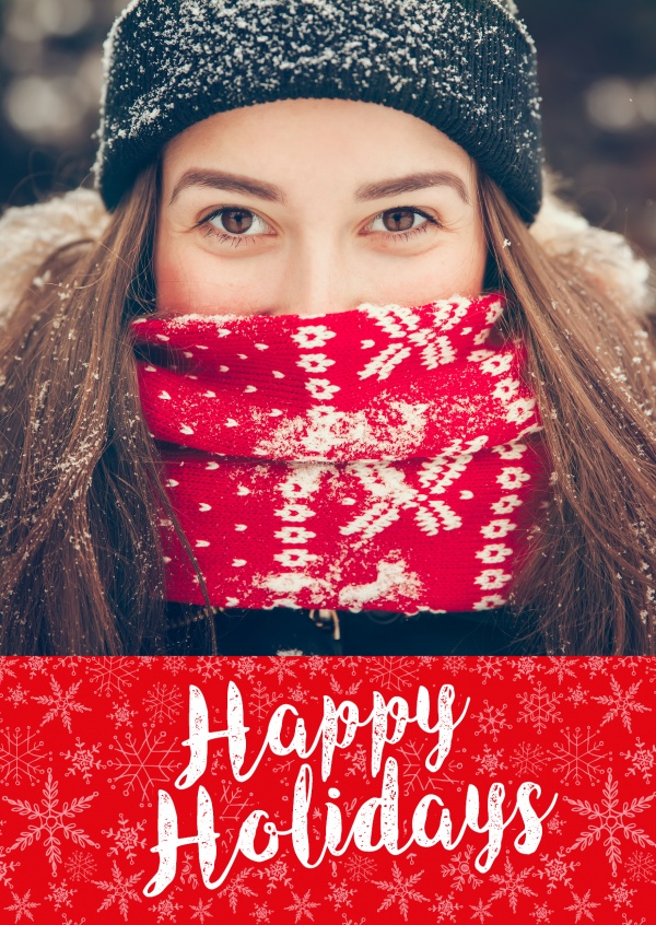 Personalizable christmas card wishes Happy Holidays with some snowflakes