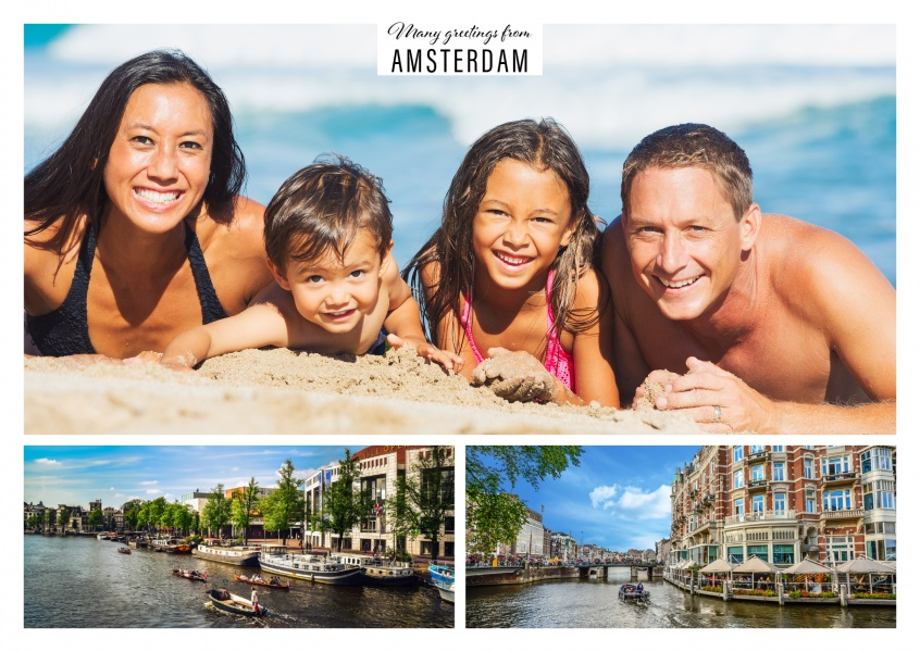 Personalizable greetingcard from Amsterdam showing canals and doll houses
