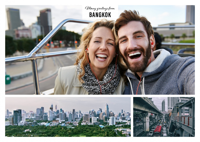 Personalizable greeting card from Bangkok with a panorama photo