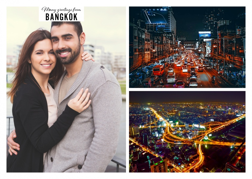 Personalizable greeting card from Bangkok with pictures during the night
