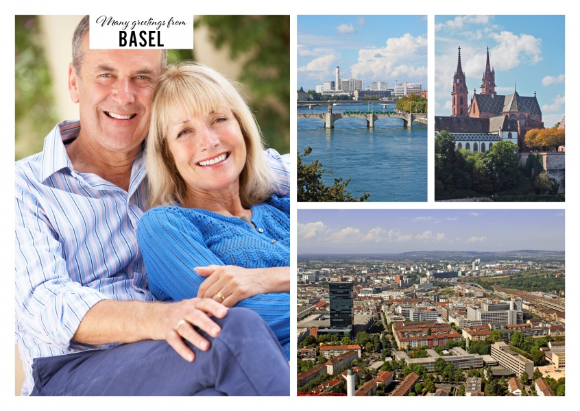 Personalizable greeting card from Basel with three pictures
