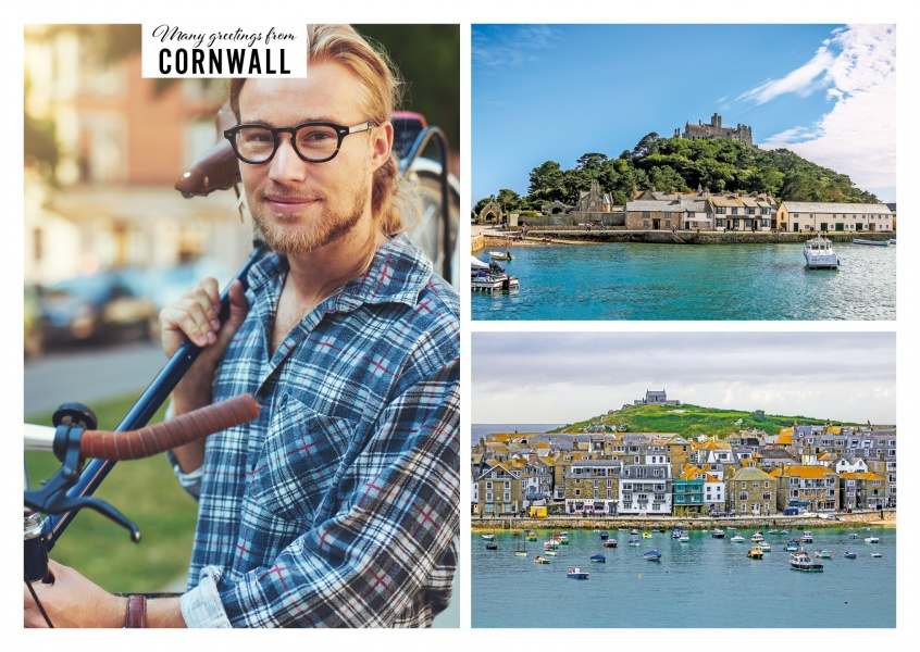 Personalizable greeting card from Cornwall - UK with two photos of St. Ives and St Michaels Mour
