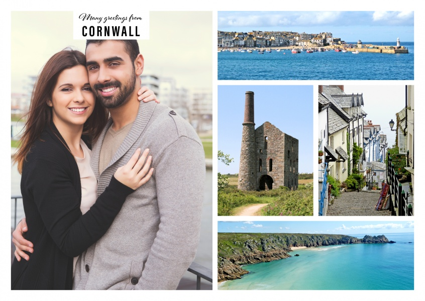 Personalizable greeting card from Cornwall with differents attractions at the sea