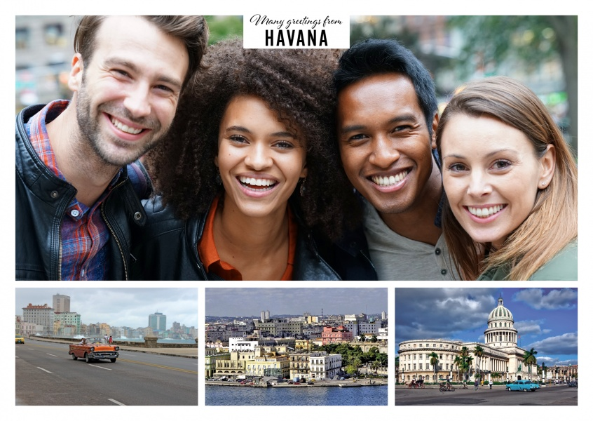 Personalizable greeting card from Havana with photos of the city and the old town