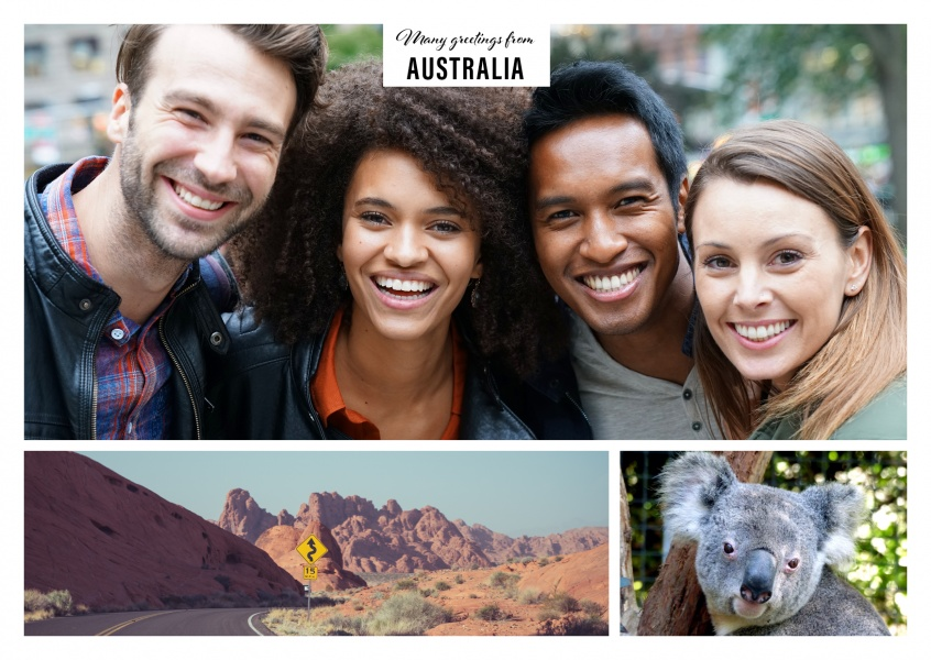 Personalizable greeting card from Australien with typical photos of the Outback and a koala bear