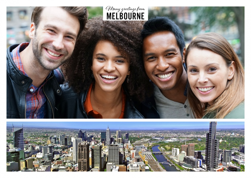 Personalizable greeting card from Melbourne in Australia with panorama photo of the city by sunlight