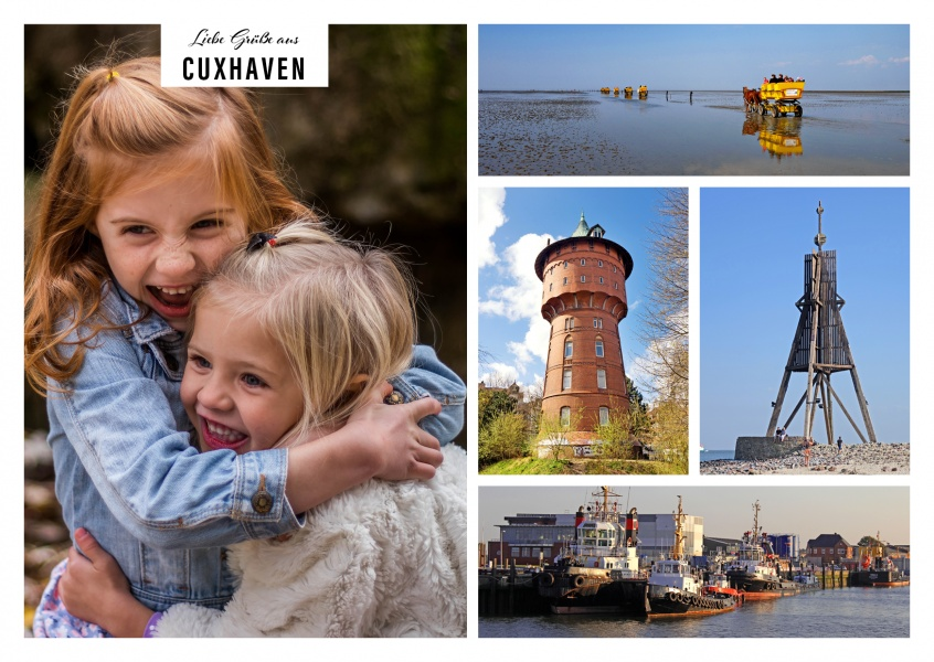 Personalizable greeting card from Cuxhaven with photos of the port, the ocean, the water tower and the Kugelbarke