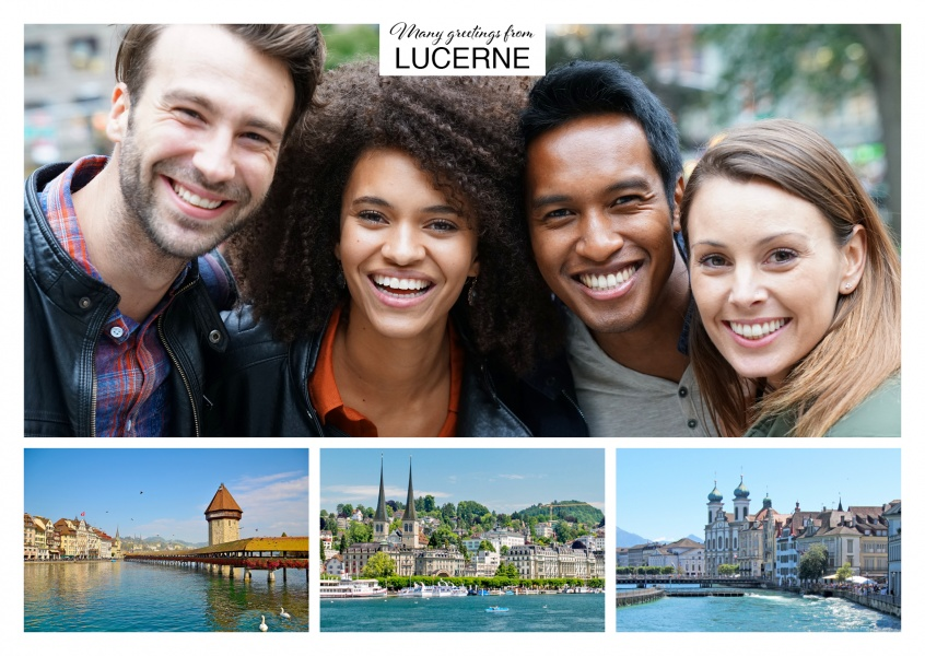 Personalizable greeting card from Lucerne with panoramas of the city and the old town