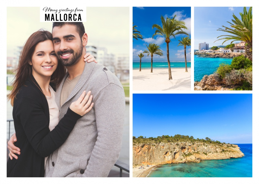 Personalizable greeting card from Mallorca in Spain with photos of the beautiful beaches and the ocean