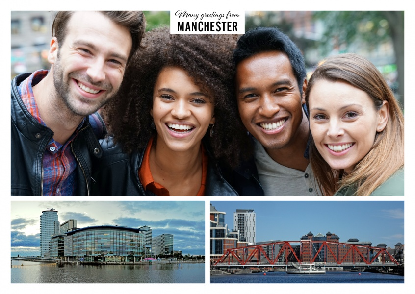 Personalizable greeting card from Manchester with panorama photos of the city