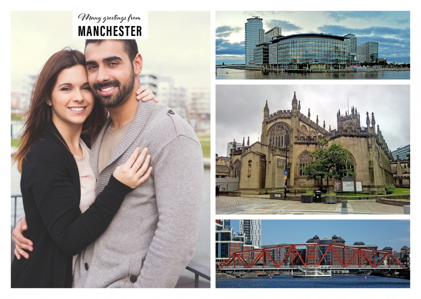 Personalizable greeting card from Manchester with a panorama photo of the city next to the water