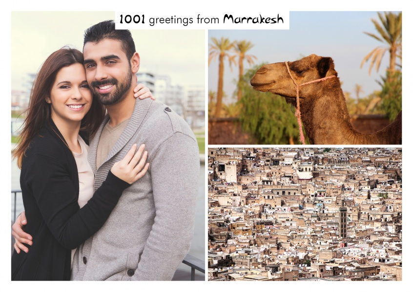 Greeting card with photos of Marrakesh's architecture and a camel