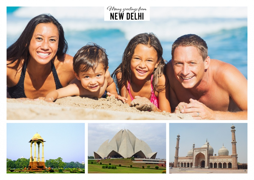 Personalizable greeting card from New Delhi in India with photos of different prayer sites