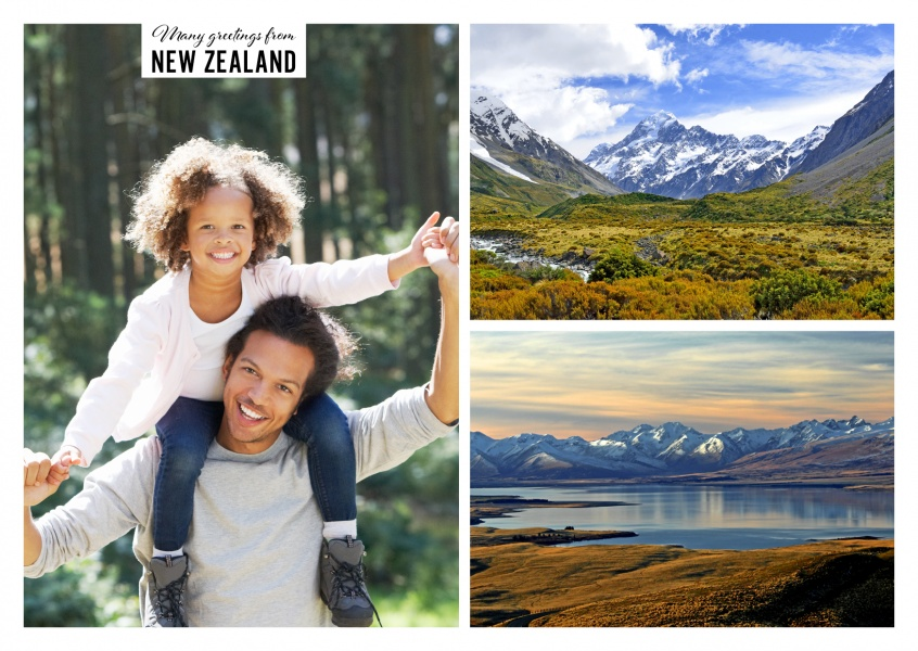 Personalizable greeting card from New Zealand with photos of nature and landscape