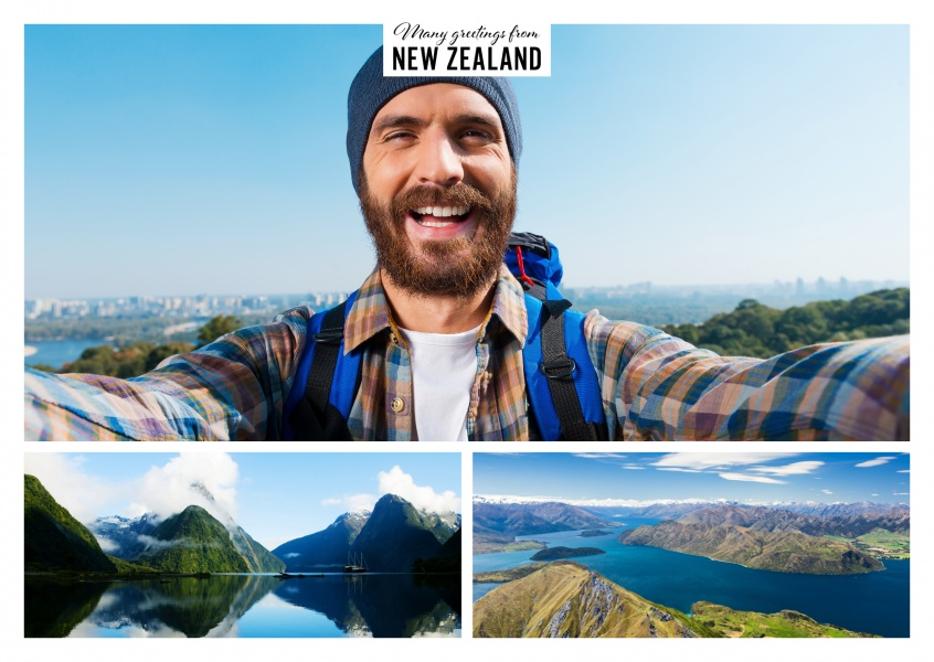 Personalizable greeting card from New Zealand with photos of attractions from the South Island