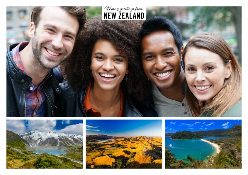 Personalizable greeting card from New Zealand with three photos of nature and landscape