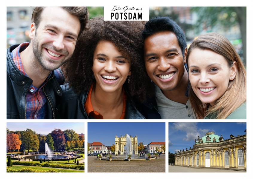 Personalizable greeting card from Potsdam in Germany with photos from the Sanssouci Palace