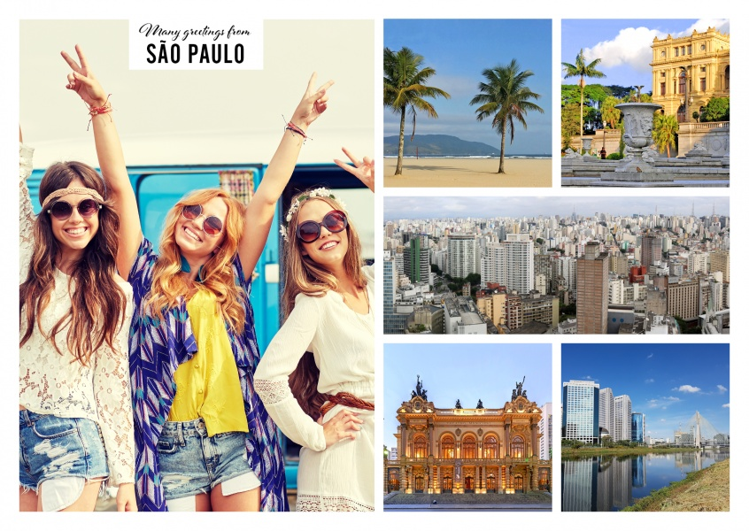 Personalizable greeting card from Sao Paulo in Brazil with photos of castles and cathedrales