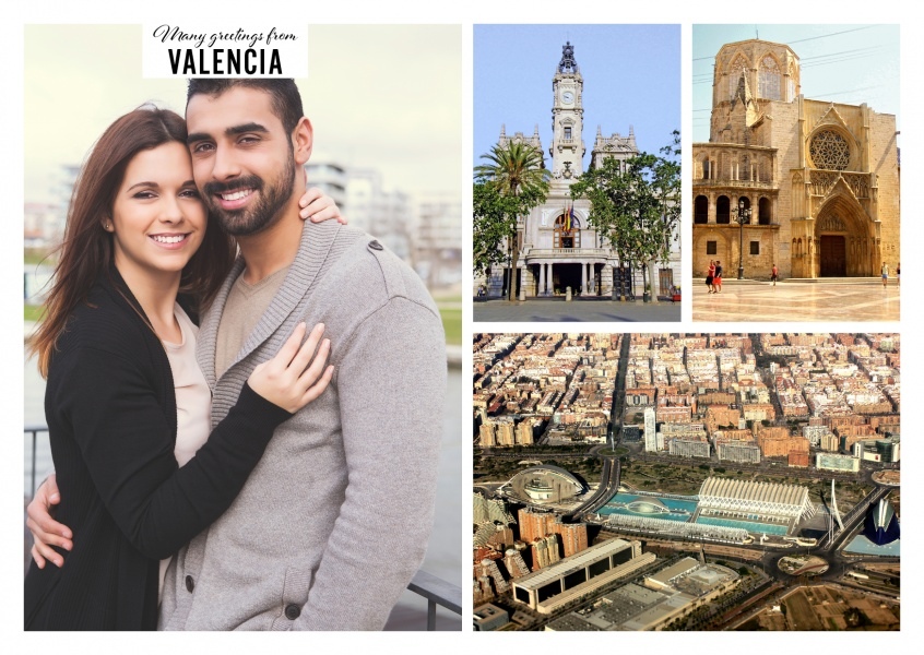 Personalizable greeting card from Valencia in Spain with photographies of the city and architecture