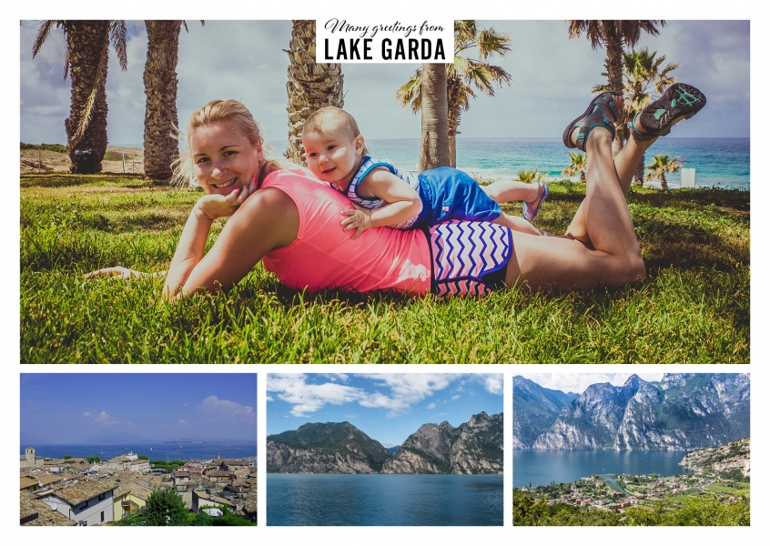 Personalizable greeting card from Lake Garda with different photographies