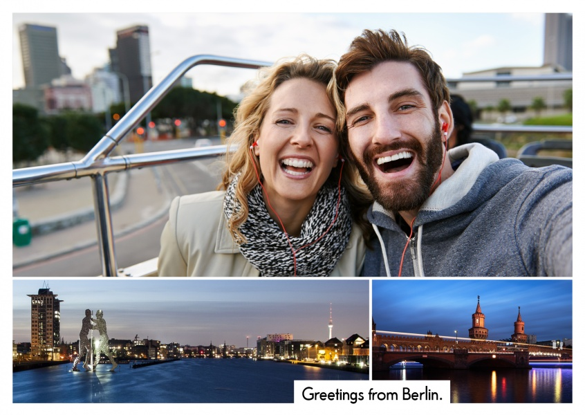 Personalizable greeting card from Berlin with two panorama