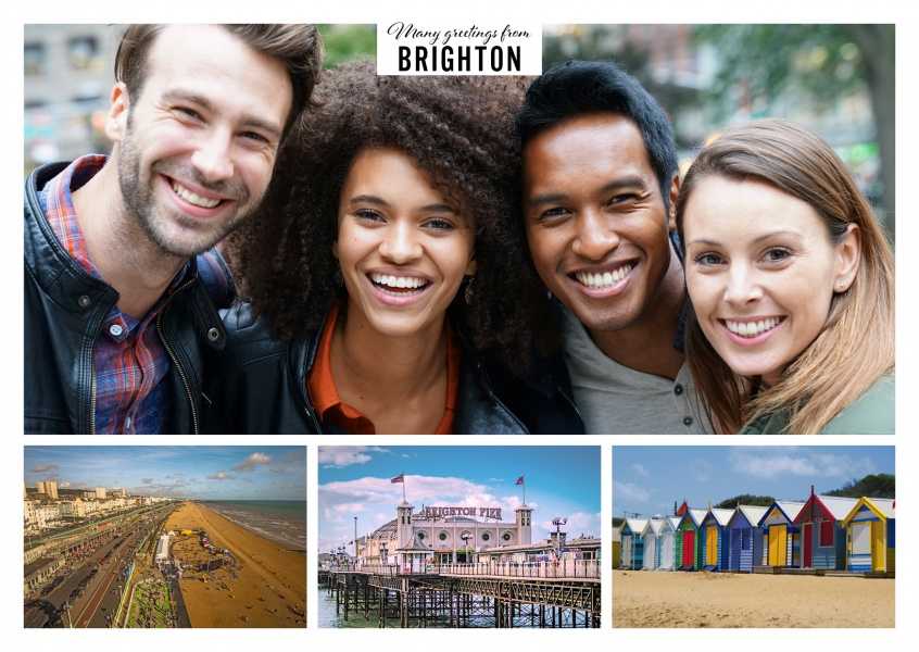 Personalizable greeting card from Brighton with three photos showing the Royal Pavilion, the ferris wheel and the pier