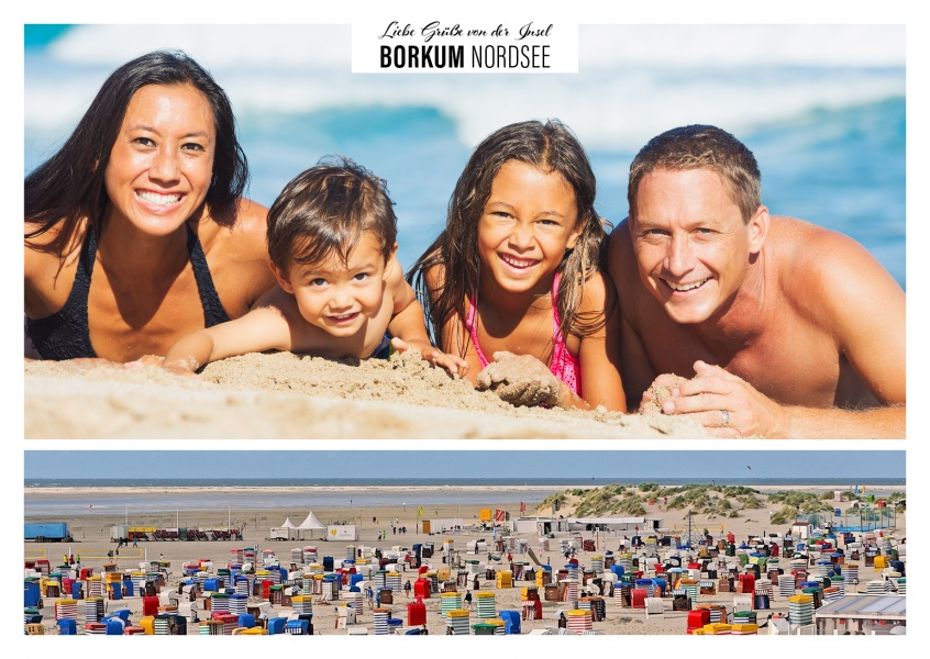 Personalizable greeting card from Borkum at the northsea with a panorama photo of the beach