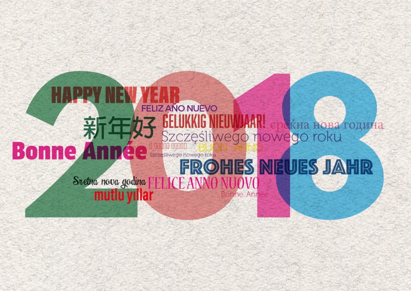 New Years card with colorful wishings