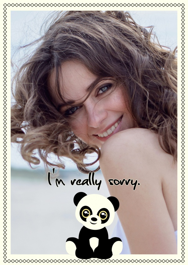 personalizable Sorry card with panda bear theme