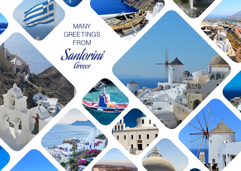 photocollage of Santorini with rounded corners