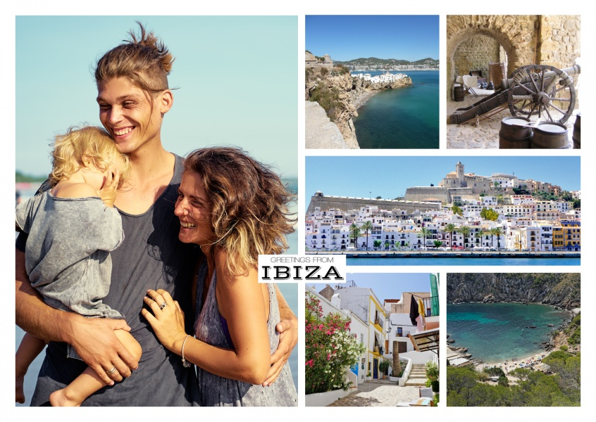 ibiza photocollage showing various views of the island's shore