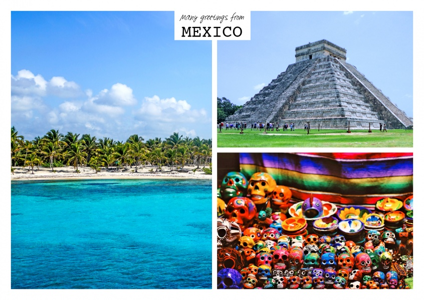 triple photocollage of mexico with day of the dead masks and inka pyramid