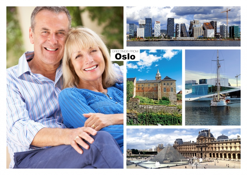 photocollage of Oslos modern and historic harbour buildings