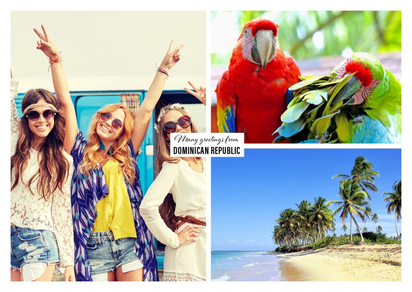 photocollage of dominican republic whowing parrots and beach