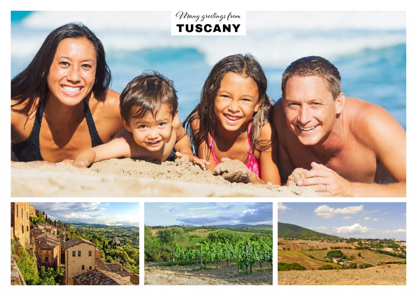trople photocollage of italian tuscany showing typical landscapes