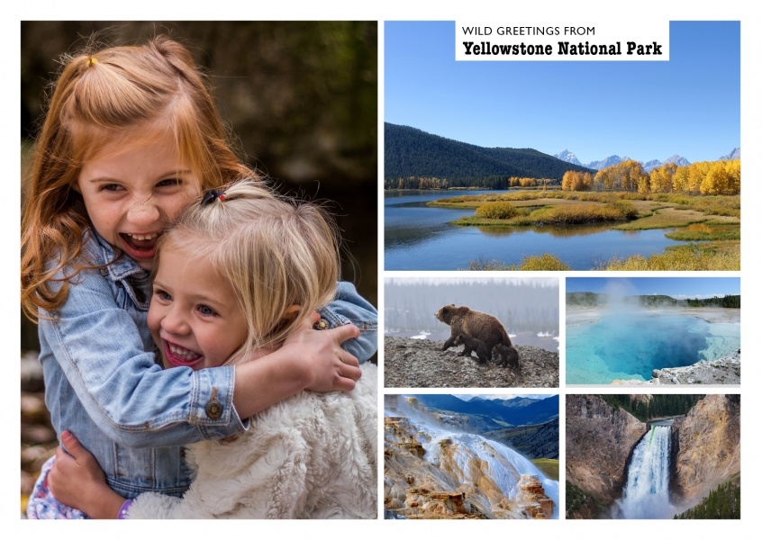 photocollage of yellowstone national park with many pictures