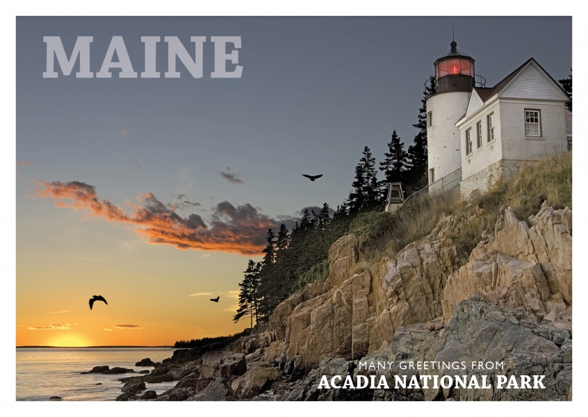 photo of acadia national park beach with lighthouse