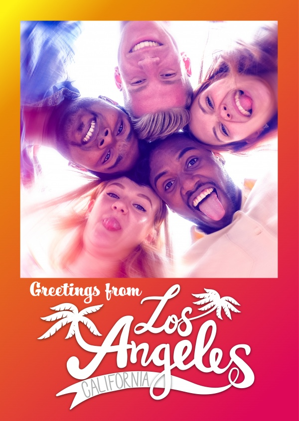 los angeles red blurry background with palm tree retro logo
