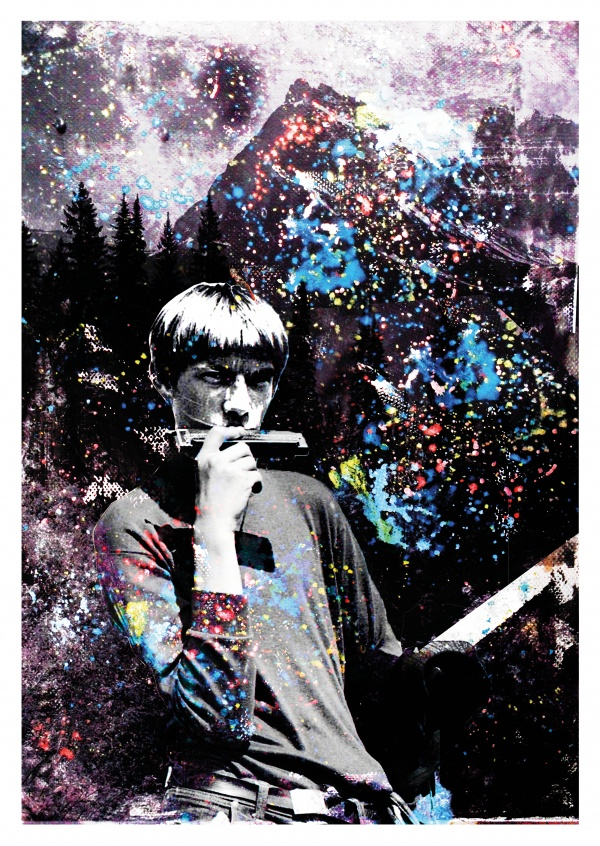 Illustration street art by Belrost, pssychedelic portrait of a young guy playing the harmonica in the mountains