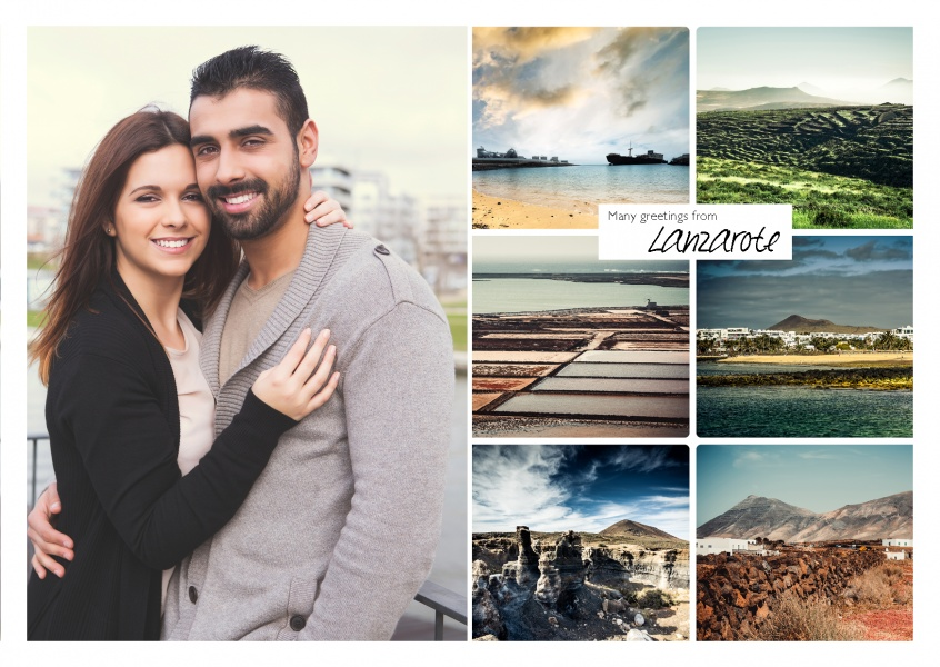 photocollage of lanzarote showing six typical landscapes