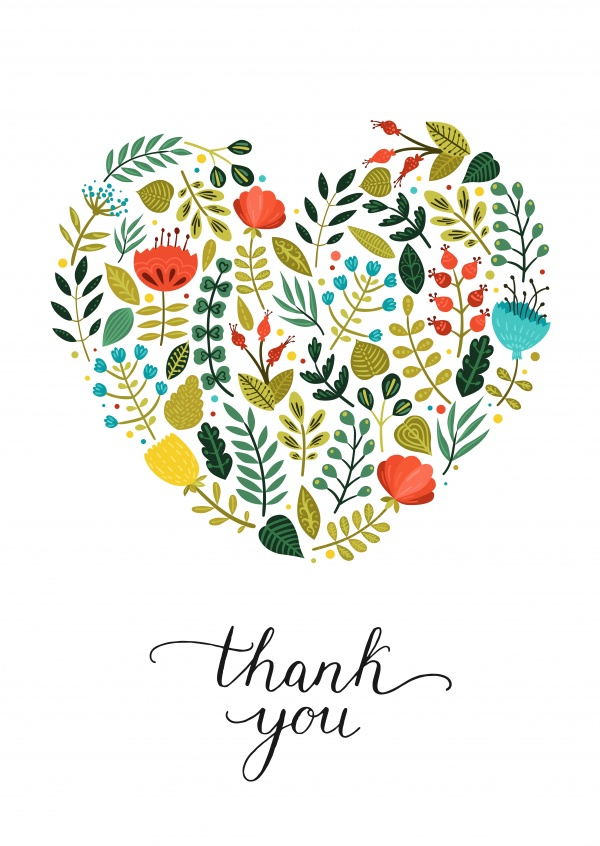 Thank you postcard with heart out of flowers