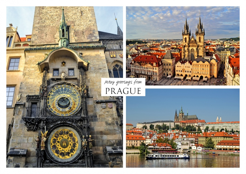 Dreier collage mit fotos aus Prag