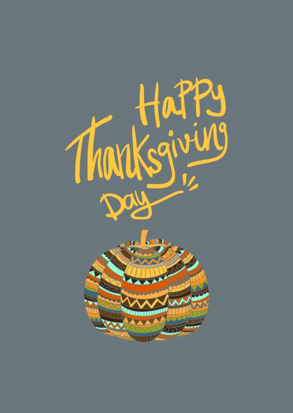 Happy Thanksgiving Day. Colorful pumpkin with pattern.