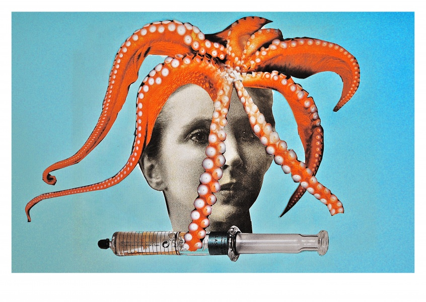 Collage by Belrost with woman's head octopus and injection