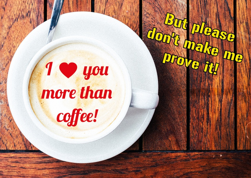 coffee cup wood quote postcard
