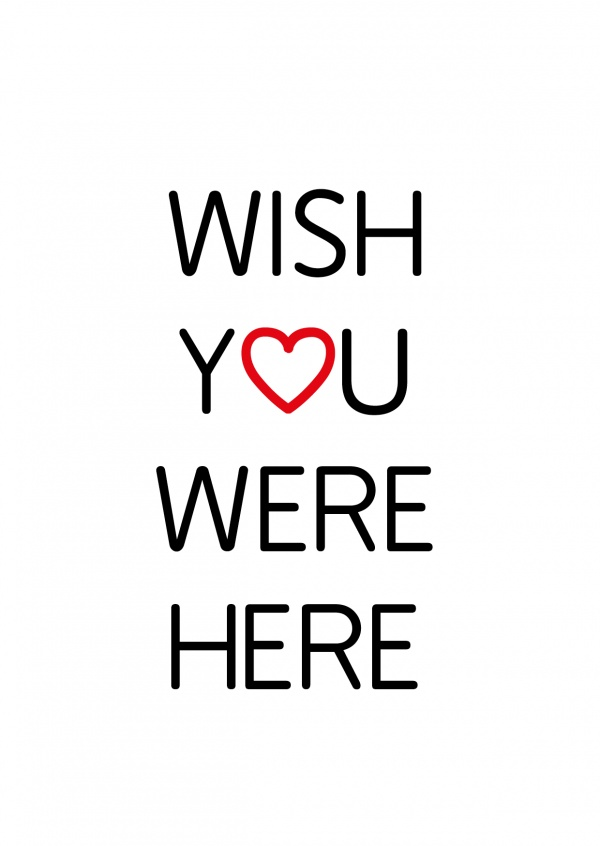 Wish you were here in black letters on white background–mypostcard