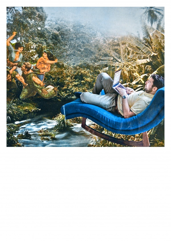 Collage by belrost with man in armchair in the jungle
