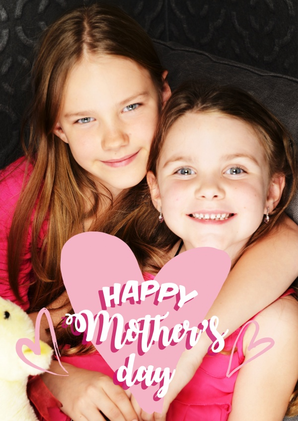 mother's day in pink and white lettering with two little hearts