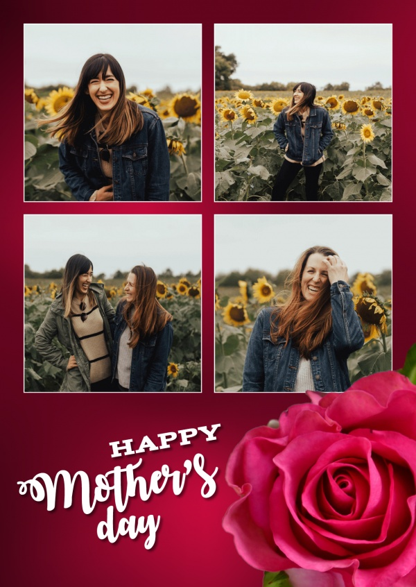 Mother's Day red rose–mypostcard