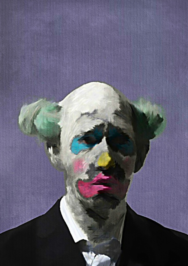 Kubistika sad Clown with green hair ans black jacket